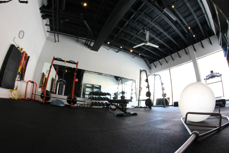 The gym: Internal studio view through fisheye lens