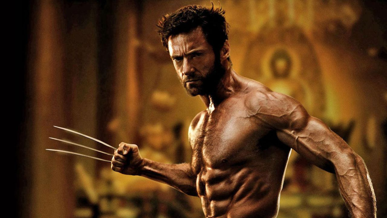 Hugh Jackman shirtless all buff as Wolverine.