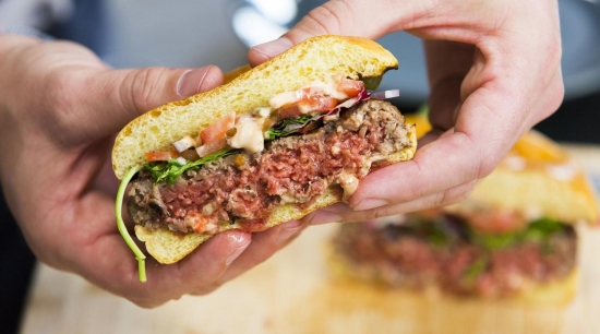 """Fake meat or the real thing? This soy-based product can be made to """"bleed"""" red just like animal flesh. Image source: Anthony Lindsay Photography/Impossible Foods"""